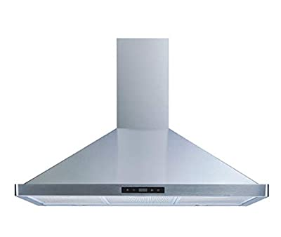 Winflo 36 In. 520 CFM Convertible Stainless Steel Wall Mount Range Hood with Aluminum Mesh Filters and Touch Sensor Control