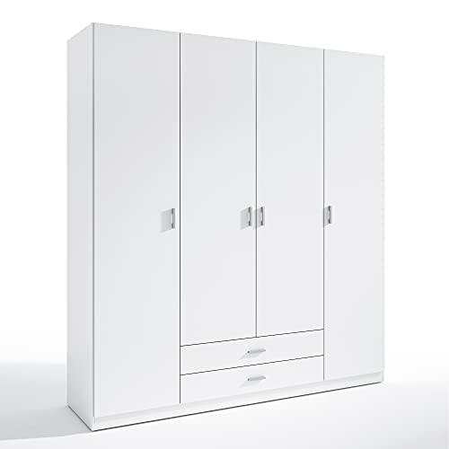HOMN LIVING Armario ropero Altea 4 Puertas y 2 Cajones Color Blanco, 198 cm (Ancho) 51 cm (Profundo) 215 cm (Altura)