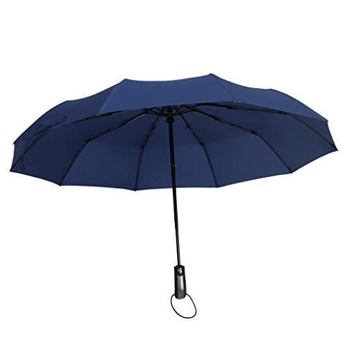 joyMerit Regenschirm Auf-Zu Automatik Taschenschirm Portierschirm Groß stabil leicht windfest Unisex Schirm 104cm für Zwei Personen - Navy