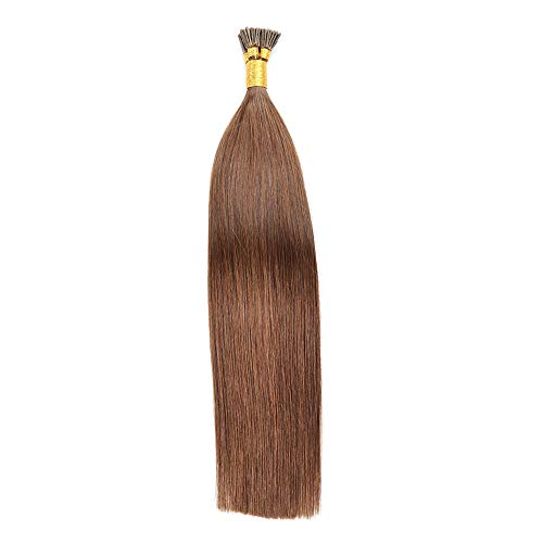 100 Strands/Pack I Tip Remy Human Hair Extensions Pre Bonded Keratin Stick In Hair Cold Fusion Hair Piece For Women Long Straight Medium Brown 0.8g/Strand 80 Gram Per Package (16inch/40cm,#4)