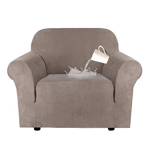 Fundas de sofá de 3 plazas, Color Puro, Protector de sofá, Terciopelo, fácil Ajuste, Tela elástica, Funda para sofá, Lavable a máquina (1 Plaza/Silla, Caqui)