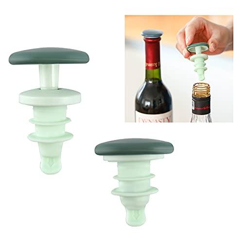 Andiker Tapones para botellas de vino reutilizables, 2 tapones de silicona para vino, Tapones para bebidas para champán, botella de vino, botella de cóctel, botella de cerveza (verde)