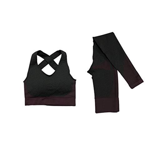 Yoga para Mujer Traje De Entrenamiento Yoga Ropa Trajes Sin Fisuras De Los Deportes De Los Pantalones De La Yoga del Sujetador De 2 Piezas (XL) Gimnasio Gym Set Ropa
