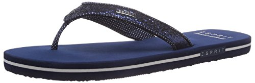 ESPRIT Glitter Thongs, Damen Zehentrenner, Blau (411 dark night blue), 37 EU