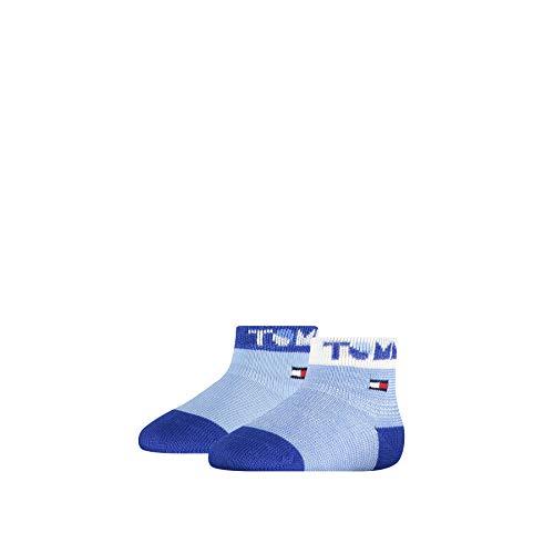 Tommy Hilfiger Baby_Boy's Tommy Wording Socks (2 Pack), Blue Combo, 0.5-2