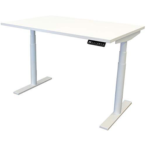 newpo elektrisch höhenverstellbarer Schreibtisch mit Tischplatte | BxT 120 x 80 cm | weiß | Stehtisch Bürotisch Tisch-Gestell