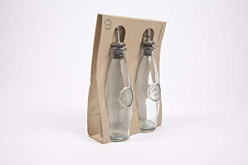 100% vetro riciclato, set di 2bottiglie da 300ml di olio/aceto con 'Authentic in rilievo