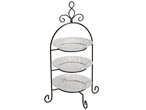 meindekoartikel Etagere mit 3 Etagen – Teller herausnehmbar aus Glas/Metall, schwarz/klar H37 x B22 x T22 cm