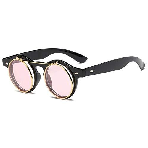 Gbcyp Fashion Unisex Steampunk Round zonnebril Clear Lens dames heren vintage metaal