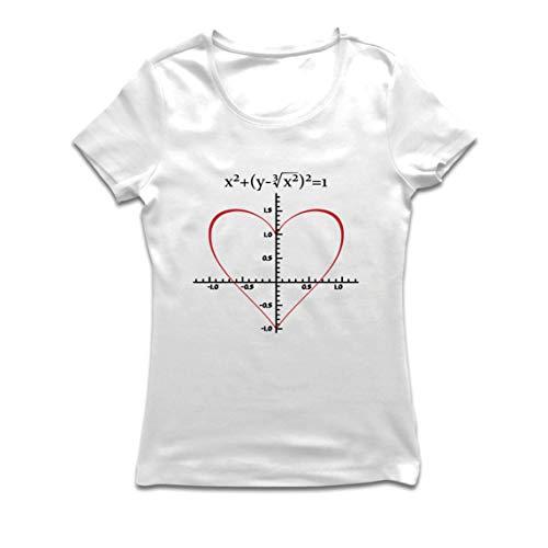 lepni.me Camiseta Mujer Fórmula de Matemáticas del Amor Ecuación matemática Regalo para el Profesor (Small Blanco Multicolor)