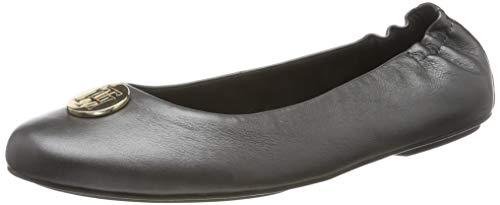 Tommy Hilfiger Damen Pearlized Leather Ballerina Geschlossene Ballerinas, Schwarz (Black 990), 39 EU