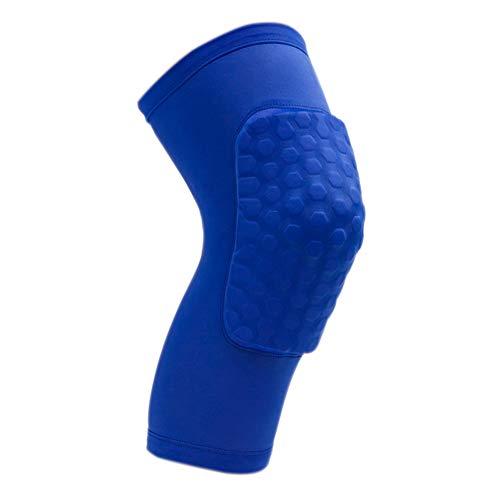 Scrox 1pcs Rodilleras Protectoras Diseño de Nido de Abeja Profesionales Crossfit Hombre Flexibilidad Baloncesto Rodilleras Deportivas Transpirable Ajustable Rodilleras Size Azul S