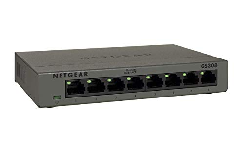 Netgear GS308 8-Port Gigabit Ethernet Unmanaged Switch (für Desktop, robustes und lüfterloses Metallgehäuse) noir