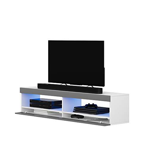 Selsey TV-Lowboard, Weiß Matt/Grau Hochglanz, 100 cm