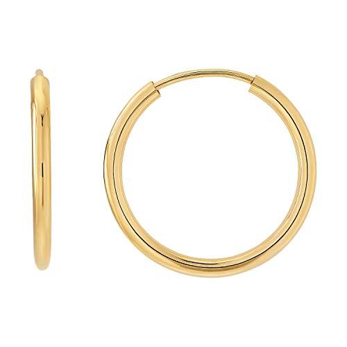 Creolen Paar 333 Breite 2,00mm Gold Gelbgold ECHT GOLD groß klein Polierte Runde Kreis Creole (Ø 20.00mm)