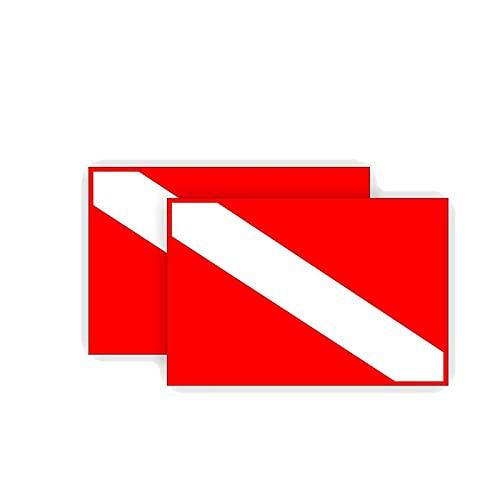 LGLGXR 2 x 11 X 8 cm Personalidad Buceo de Buceo Etiqueta engomada del Coche Bandera de la Bandera Calcomanía Accesorios Accesorios PVC Cuerpo Decoración Impermeable calcomanías de Protector Solar