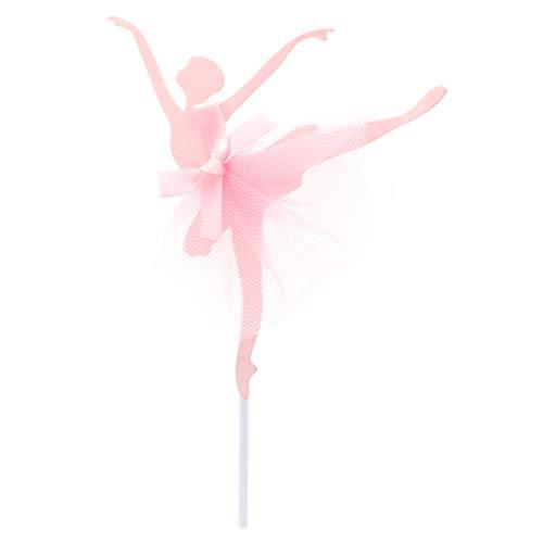 Amosfun 5 stücke Ballerina mädchen Cupcake Topper geburtstagstorte Topper Party Kuchen liefert für Hochzeit Braut Baby Shower Birthday Party (rosa)