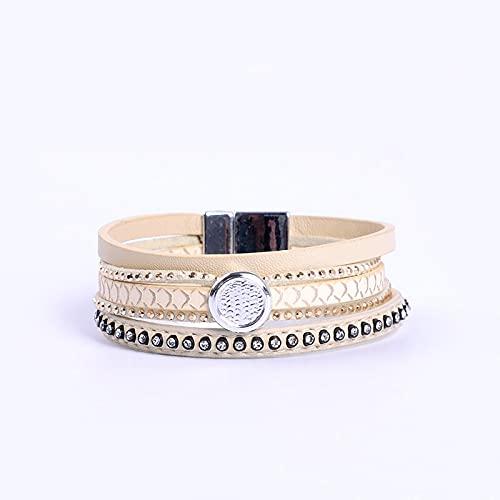 Beige PU Leather Bracelet with Rhinestone Beads Magnetic Clasp Women wrap Masculina bijoux Bracelet