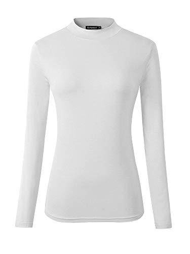 Veranee Women's Long Sleeve Slim Fit Turtleneck Basic Layering T-Shirt (Large, White)