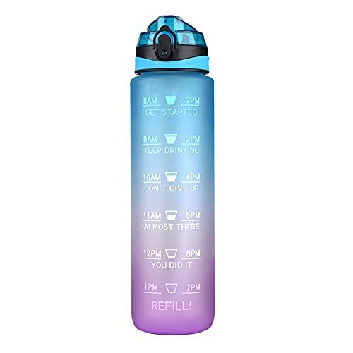 windyday 1000ml Trinkflaschen Plastikwasserflasche Ungiftig Sport Wasserflasche Mit Motivational Zeitmarkierung,BPA Frei Tritan Auslaufsicher Sportflasche,für Kinder Schule,Sports,Cycling,Camping,Uni