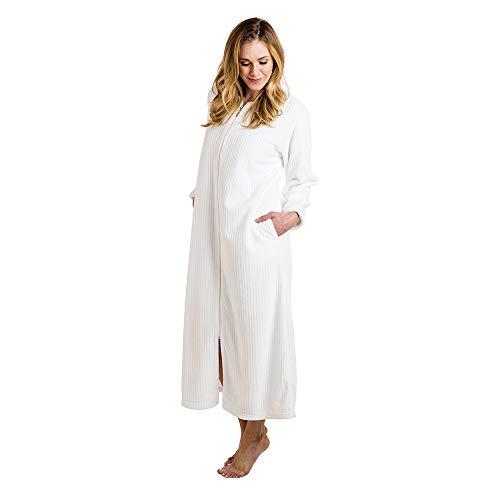 Softies Women's Cloud Fleece Zip Robe (Large, White)