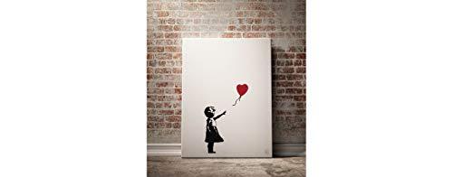 Cuadro Banksy Lienzo con Bastidor Madera, diseño Niña con Globo. Medidas: 50x70 cm