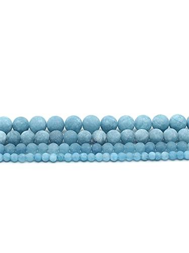 Perlas sueltas redondas de piedra de calcedonia de aguamarina mate natural mate mate mate mate mate mate mate mate mate mate mate mate para hacer joyas DIY azul 4 mm aprox. 93 cuentas