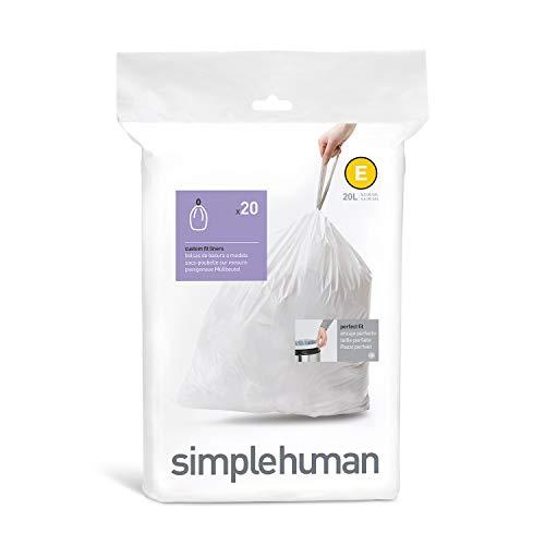 simplehuman CW0164 - Bolsas para Cubo de Basura, 20 l, Color
