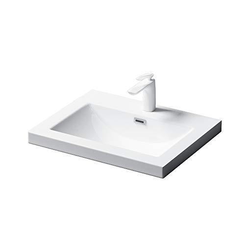 Einbau-Waschbecken Col01 Waschschale Waschtisch Mineralguss Rechteckig 1 Armaturenloch Überlauf-Funktion Breite: 60cm