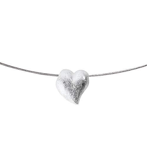 Heartbreaker roestvrij stalen halsband met zilveren harthanger | collectie Crown of My Heart | stalen band met roestvrijstalen bajonet 1,8 mm | lengte 45 cm | set LD LP 35