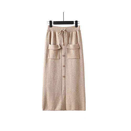 madows rok Vrouwen Elastische Taille Trekkoord Rokken Gebreide Medium Lange Rokken met Pocket & Button