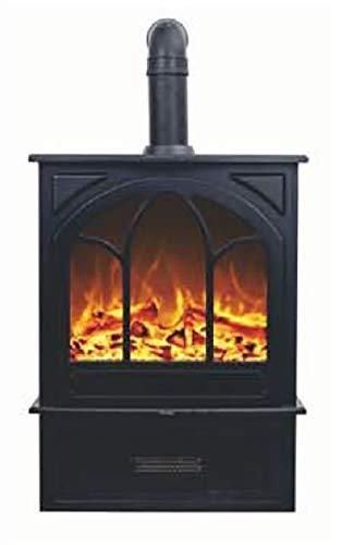 Noble Flame York – Classiques Poêle Cheminée Électrique Cheminée Stand Poêle-cheminée – Moderne LED Feuerambienteinkl. Fonction de Chauffage – Gusseisen-Optik & Tuyau de Poêle