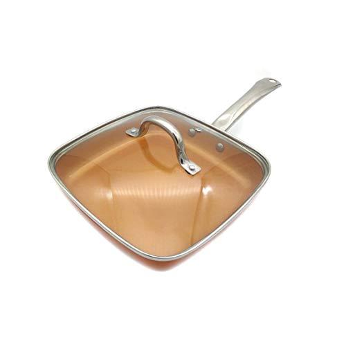 CJTMY Palillo de Cobre sartén no con Revestimiento de cerámica y cocción por inducción, Horno y lavavajillas