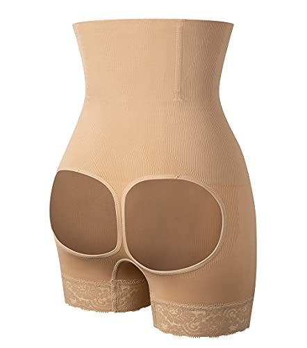 MISS MOLY Bragas Levanta Glúteos Braguita Moldeadora Faja Reductora Cintura Alta Shapewear Nalgas Push Up Encaje Lencería Body Shaper para Mujer