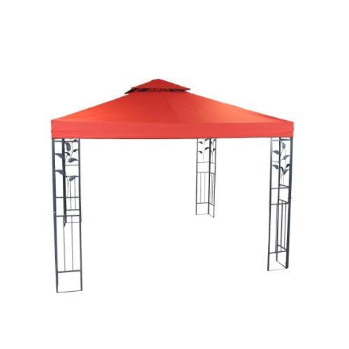 greemotion Pavillon Livorno rot, Partyzelt mit robustem Stahlgestell, Gartenpavillon mit wasserabweisendem Dachbezug (180g/m²) und UV-Sonnenschutz 50+, Maße ca. 300 x 300 x 280 cm
