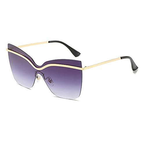 WQZYY&ASDCD Gafas de Sol Gafas De Sol De Moda De Gran Tamaño con Ojo De Gato para Mujer, Gafas De Metal con Espejo Antirreflectante, Gafas De Sol para Exteriores, Uv400-Negro
