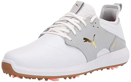 PUMA Men's Ignite Pwradapt Caged Crafted Golf Shoe, White-High Rise, 10.5