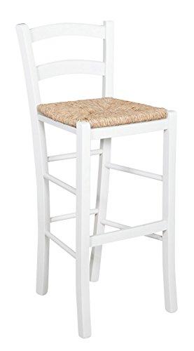 Biscottini Tabouret en bois pour table à manger restaurant, pizzeria, cuisine, agritourisme, art pauvre, blanc, L 46 x P 41 x H 101 cm, fabriqué en Italie