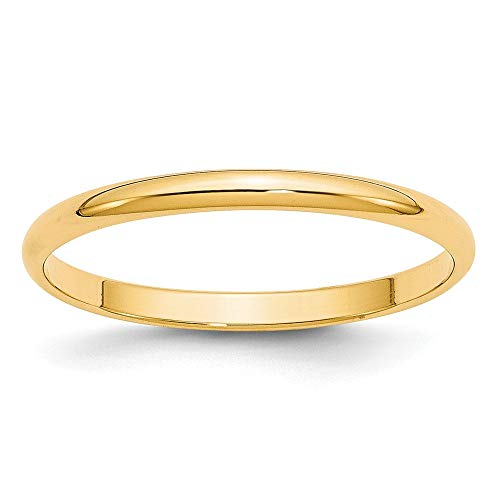 14k Yellow Gold 2mm Half Round Wedding Ring Band Size 4.5 Classic Fine Jewellery For Women Gifts For Her