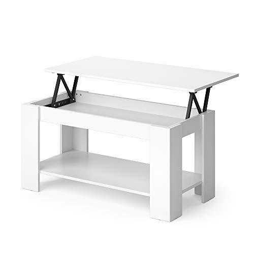 Vicco Couchtisch Lorenz höhenverstellbar Sofatisch Kaffetisch Wohnzimmer Tisch (Weiß)