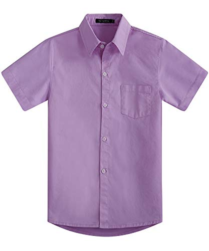Spring&Gege Boys' Short Sleeve Dress Shirts Formal Uniform Cotton Solid, Lilac, 9-10 Years