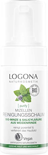logona Natural cosmético klärender Limpieza Espuma, actúa como efectivo & ausgleichend, tecnología de Mizell ocupa Make Up suaves de la piel, Vegano), 100ml
