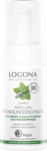 Bio Mizelle Reinigungsschaum von LOGONA Naturkosmetik für unreine Haut und Mischhaut, Bio-Minze & natürliche Salicylsäure aus Weidenrinde, mattierend, Natürlich & Vegan, 100 ml