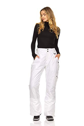 Arctic Quest Women's Insulated Ski and Snow Pants, Water Resistant Trousers, White, X-Large