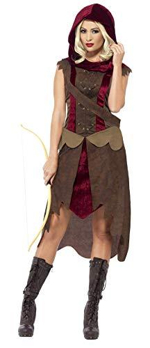 Smiffys, Damen Jägerin Kostüm, Kleid, Kapuze und Gürtel, Größe: L, 43720
