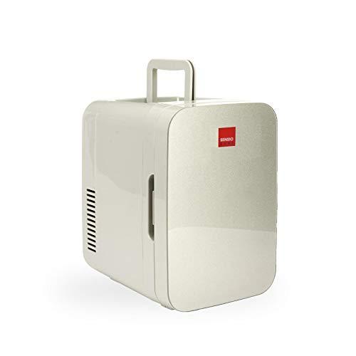SENSIOHOME 2-in-1 10L Mini Kühlschrank, mit Kühl- und Heizen funktion, 12 Volt und 230 Volt, Autos, Schlafzimmer, Büros, Zelten, Kosmetik, AC DC (Silber)