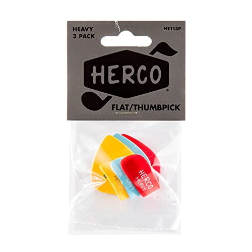 Herco HE113P Flat Thumbpicks, Heavy, 3/Player's Pack