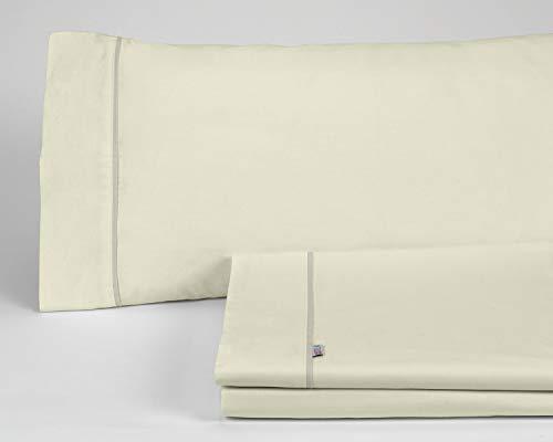 Es-Tela - Juego de sábanas liso con biés, color crema, cama de 150 cm (2 almohadas), algodón-poliéster, 4 piezas