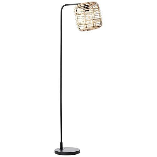 BRILLIANT CROSSTOWN - Lámpara de pie (152 cm, metal y madera de bambú), color negro y claro