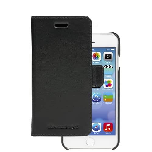 dbramante1928 - Lynge Hülle für iPhone SE/8/7/6 - Klapphülle aus robustem, hochwertigem Leder - Mit Kartenfach - Brieftasche sowie Schutzhülle - Schwarz